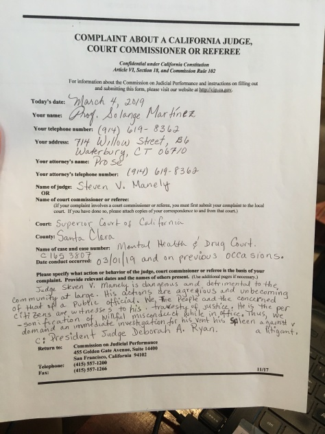 PROF MARTINE'S COMPLAINT FORM AGAINST JUDGE MANLEY, ON BEHALF OF TANIA MCCASH A MOTHER OF THREE